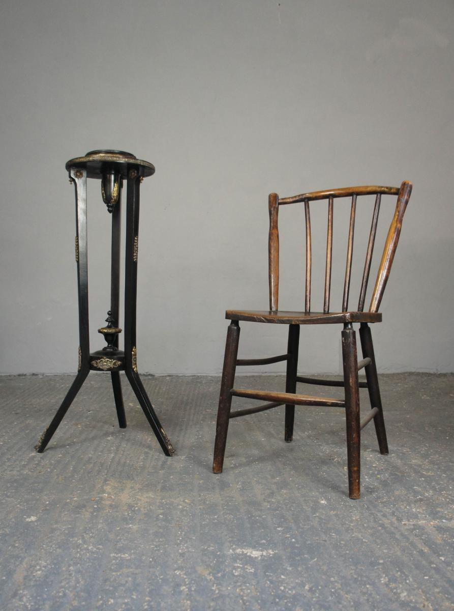 Pair of Early Ash and Beech Spindle Back Chairs