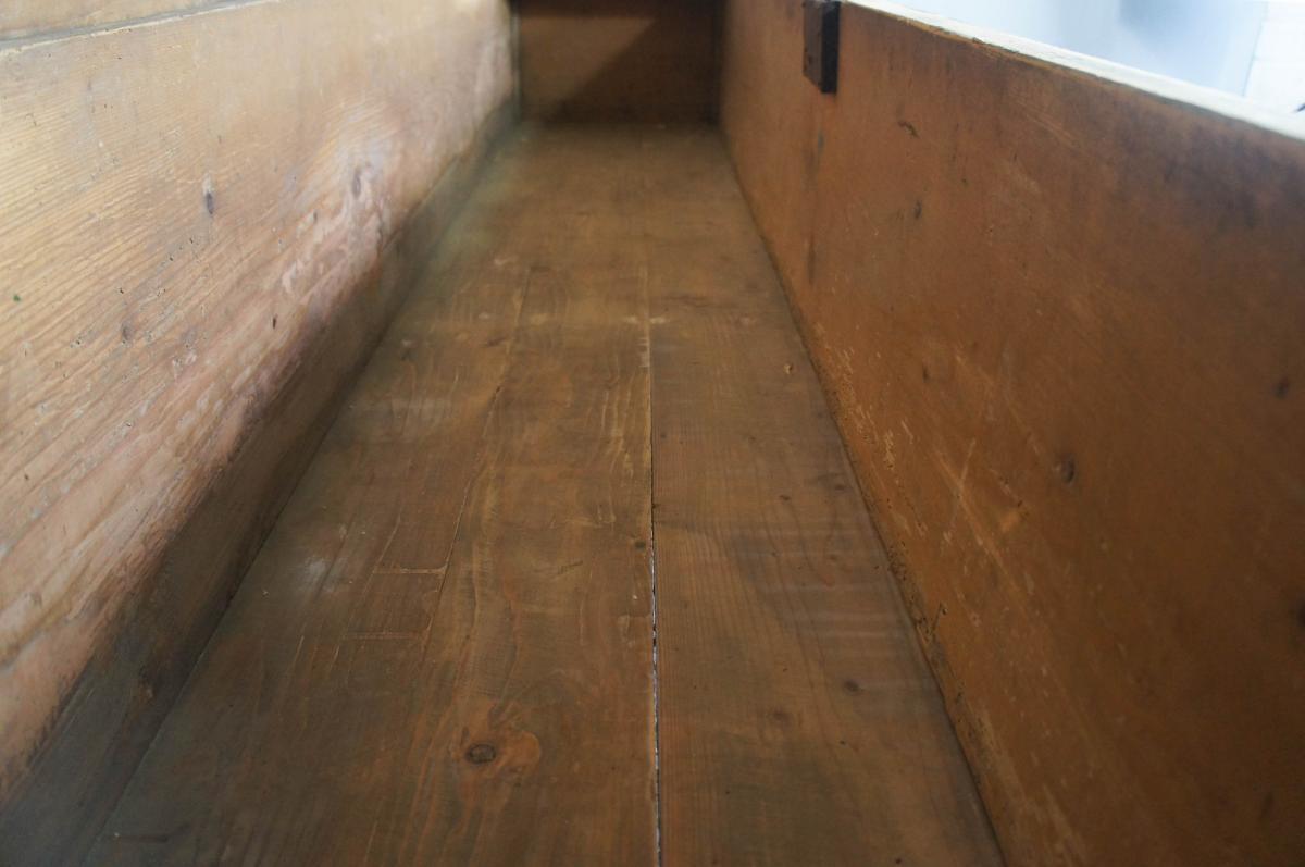 Huge Painted Pine Vintage Storage Bench