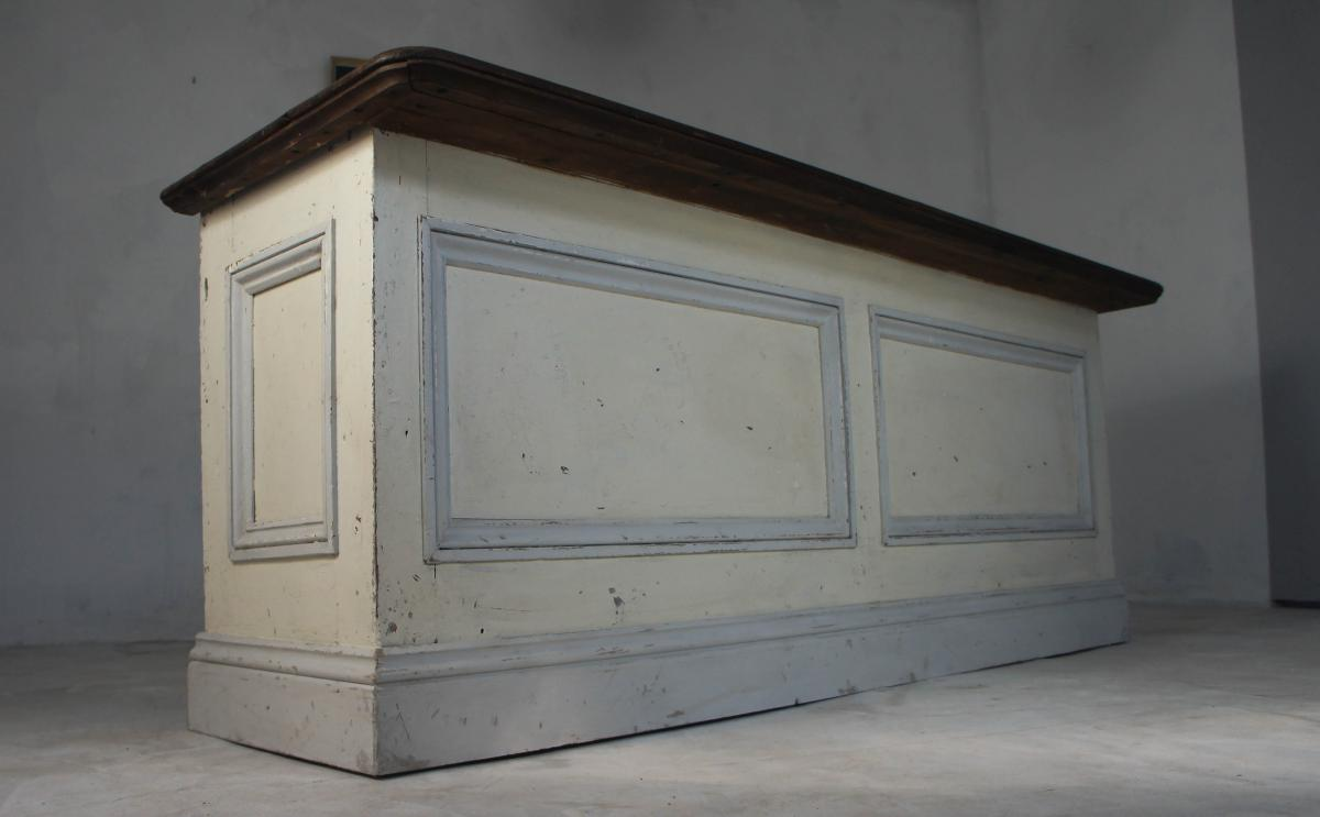 19th Century Victorian Painted Pine Shop Counter Sideboard with Hardwood Top
