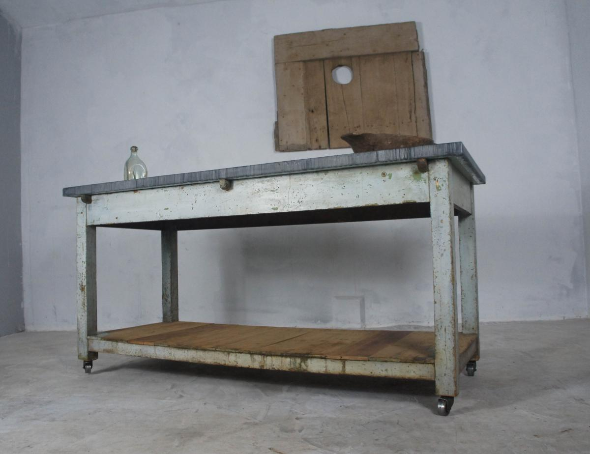 French Table, Sideboard or Kitchen Island with Zinc Top on Casters