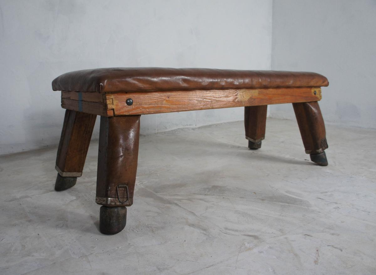 Mid Century Vintage Leather Gym Bench from Germany