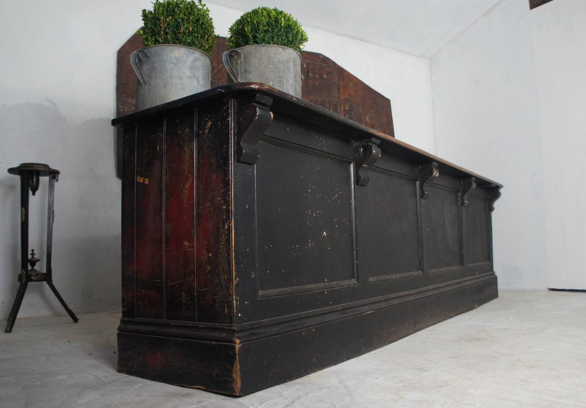 19th Century Victorian Pine Black Shop Counter