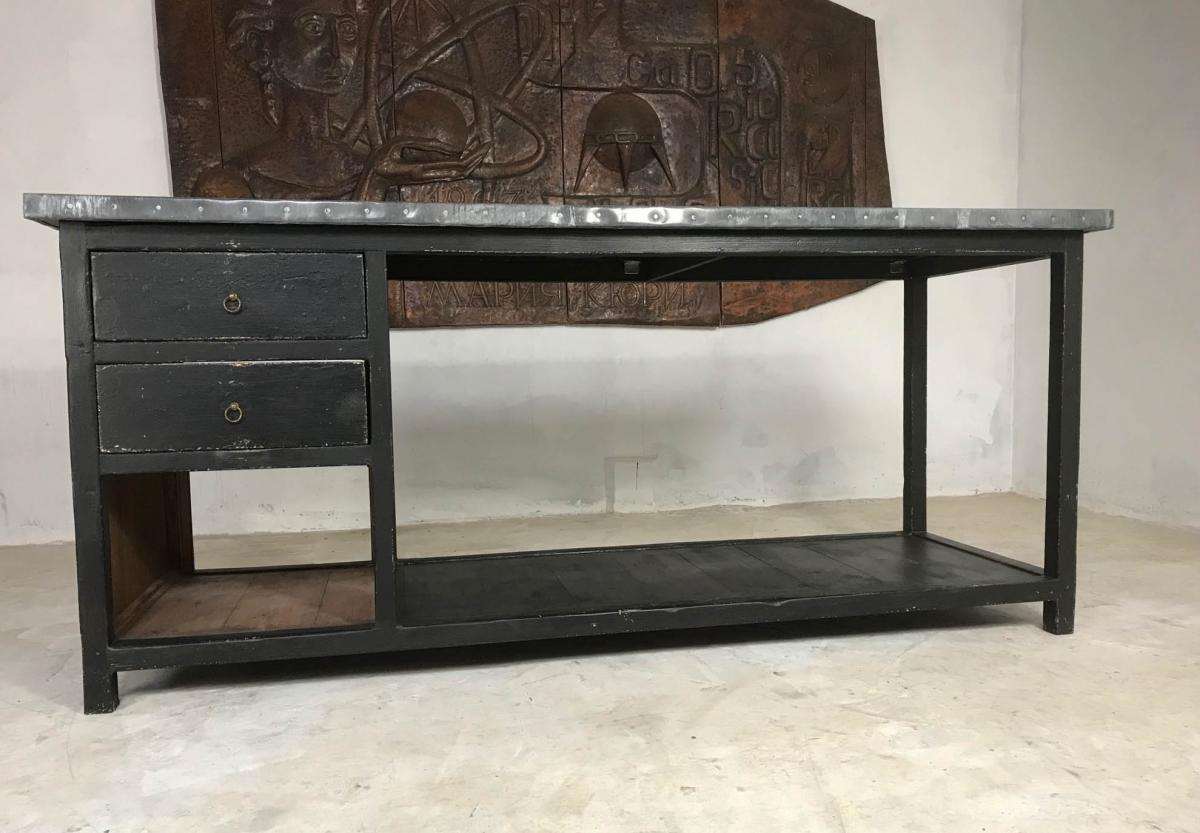 Vintage Shop Counter / Kitchen Island with Aged Zinc Top