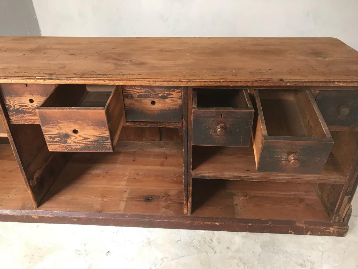 19th Century English Oak Victorian Shop Counter Kitchen Island