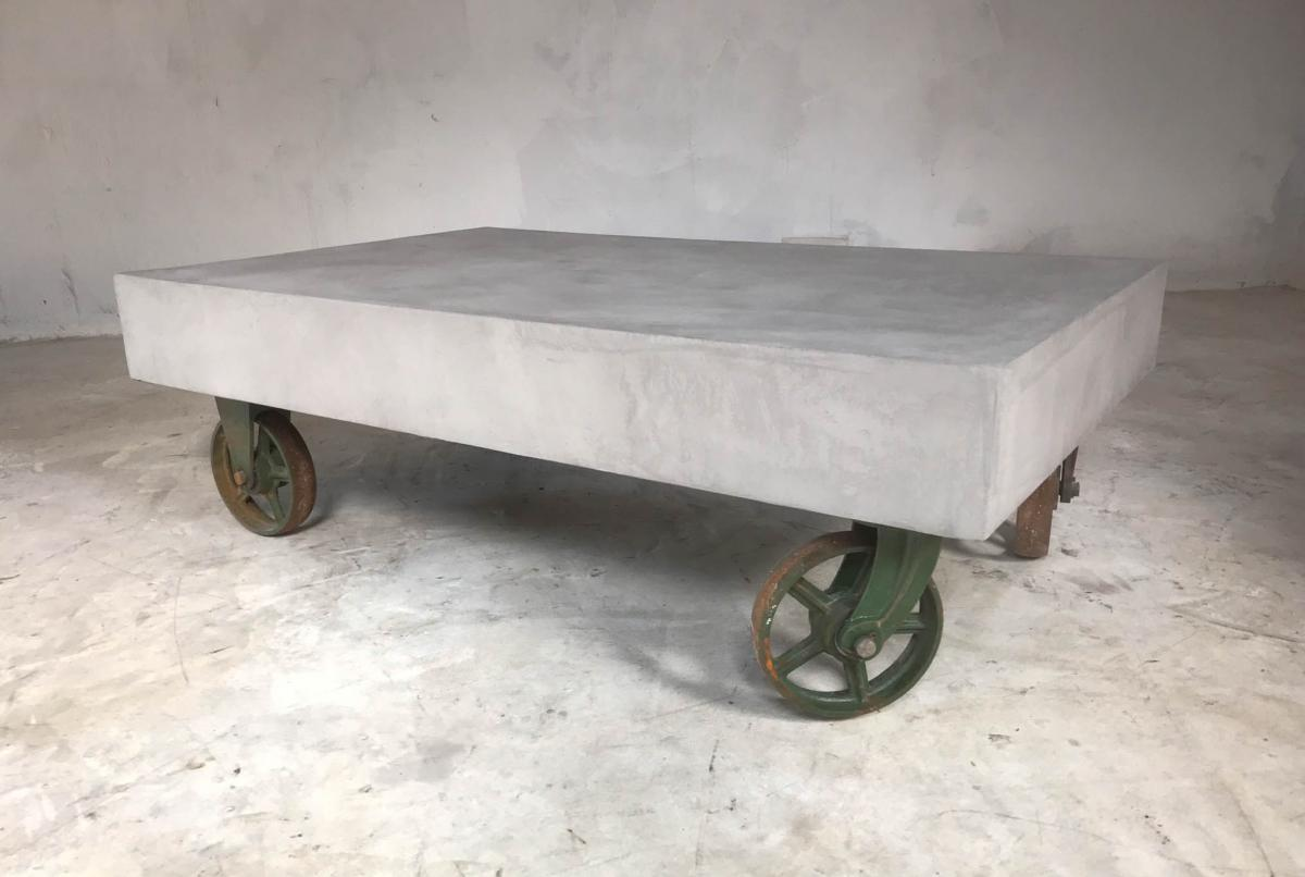 21st Century Vintage Industrial Coffee Table Wheels Concrete Style Loft Warehouse