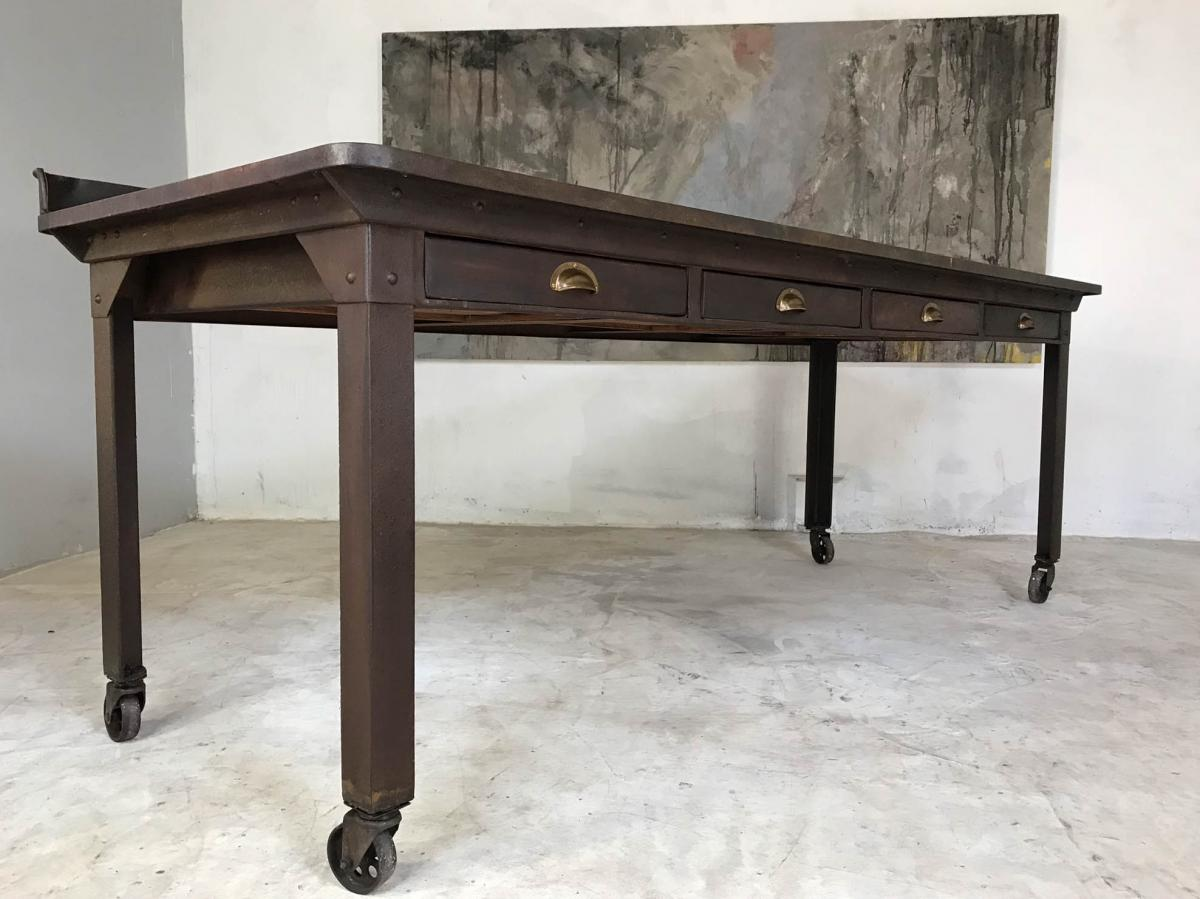 20th Century Vintage Industrial Steel Table Kitchen Island Worktable Centerpiece