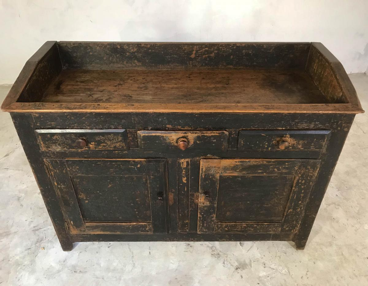 19th Century English Oak Cupboard Sideboard Waiter Station Original Black Paint