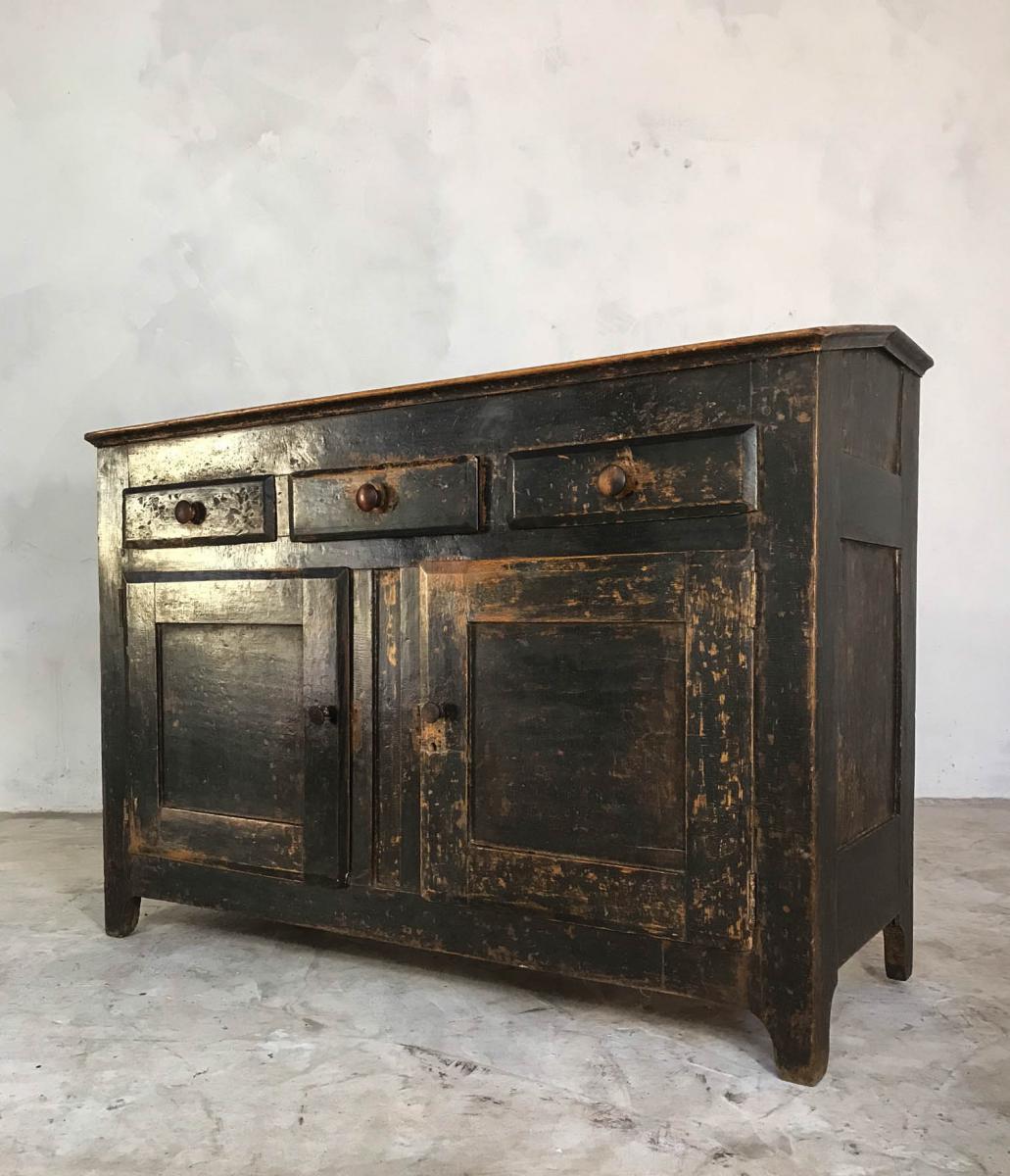 19th Century English Oak Cupboard Sideboard Waiter Station Original Black Paint