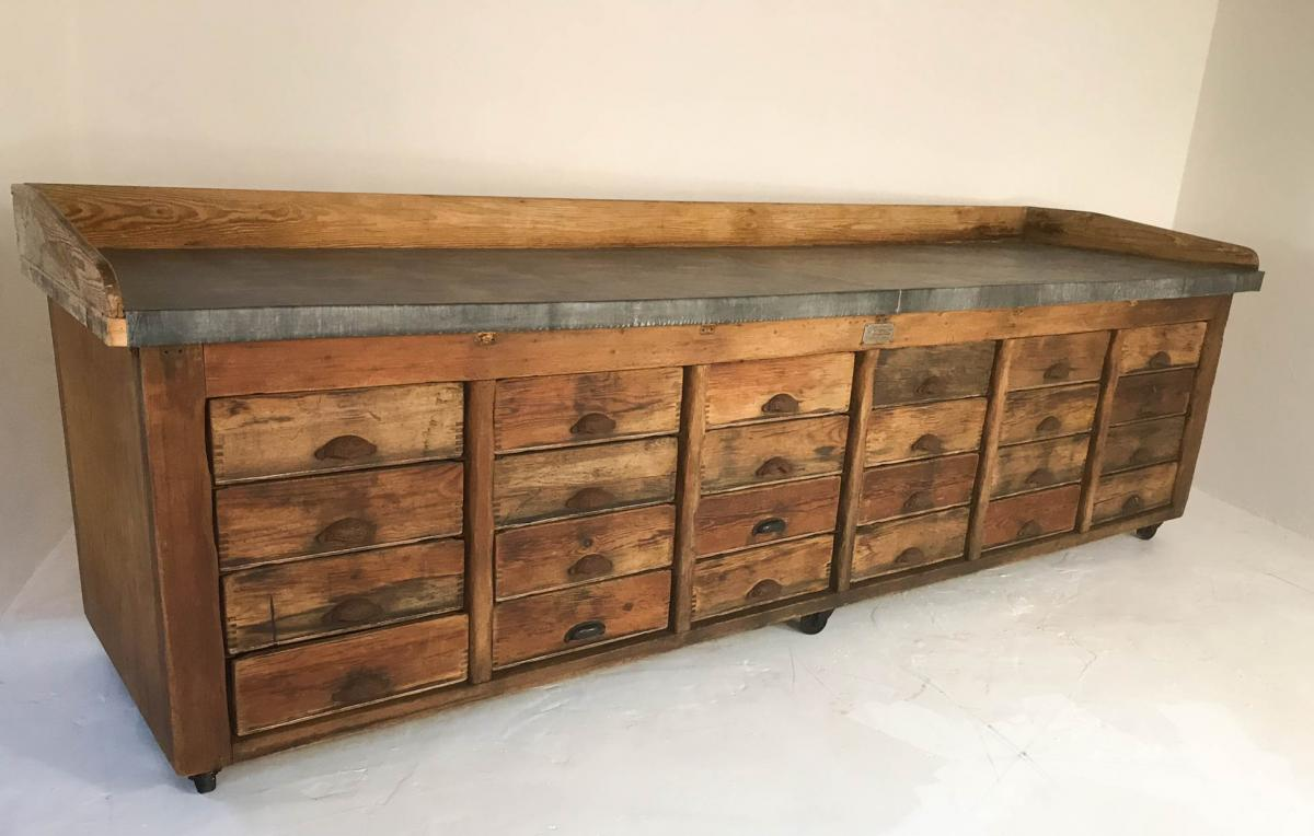 20th Century Vintage Industrial Pine Baker's Table Kitchen Island Zinc Top