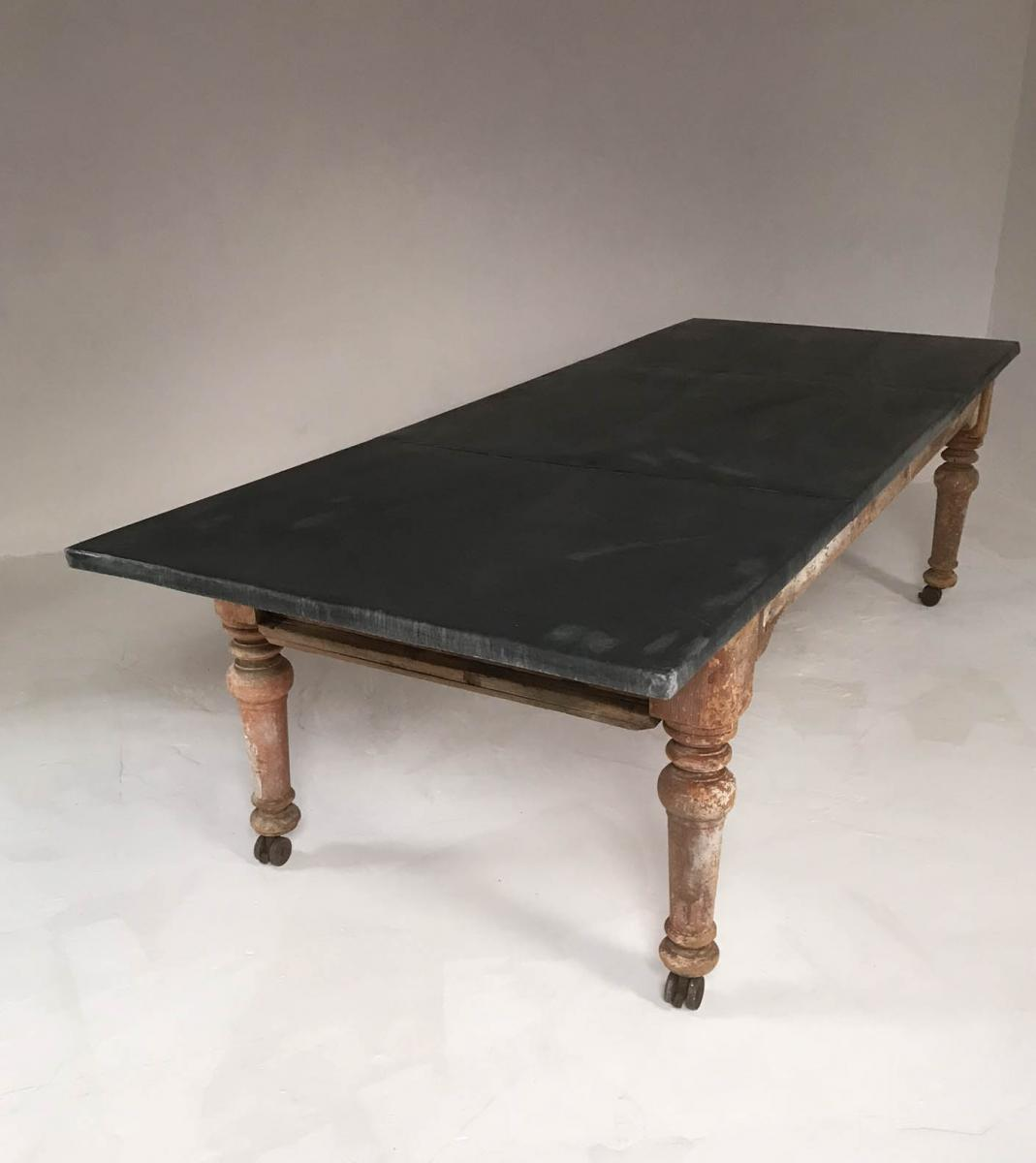 19th Century Victorian Rustic Dining Table with Aged Zinc Top