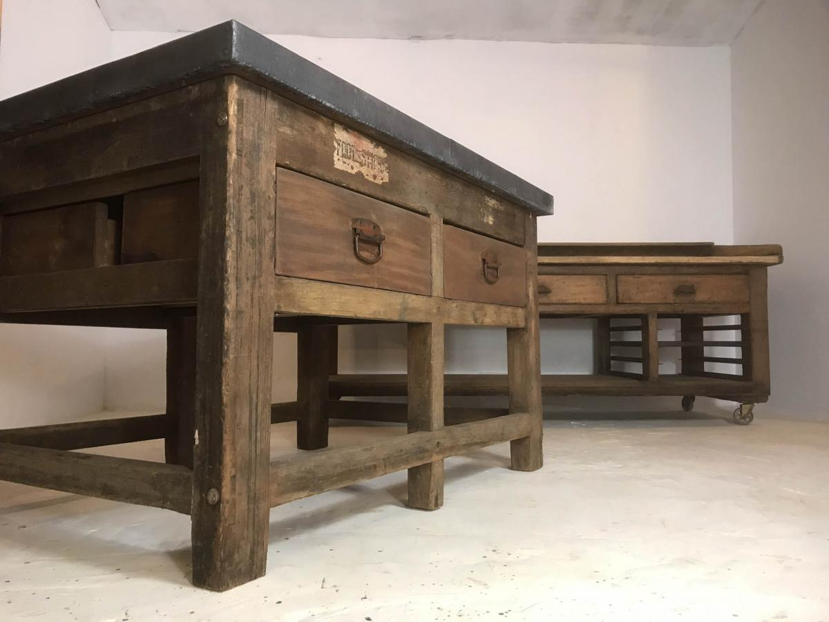Vintage Industrial Pine Printers Table Zinc Top Kitchen Island