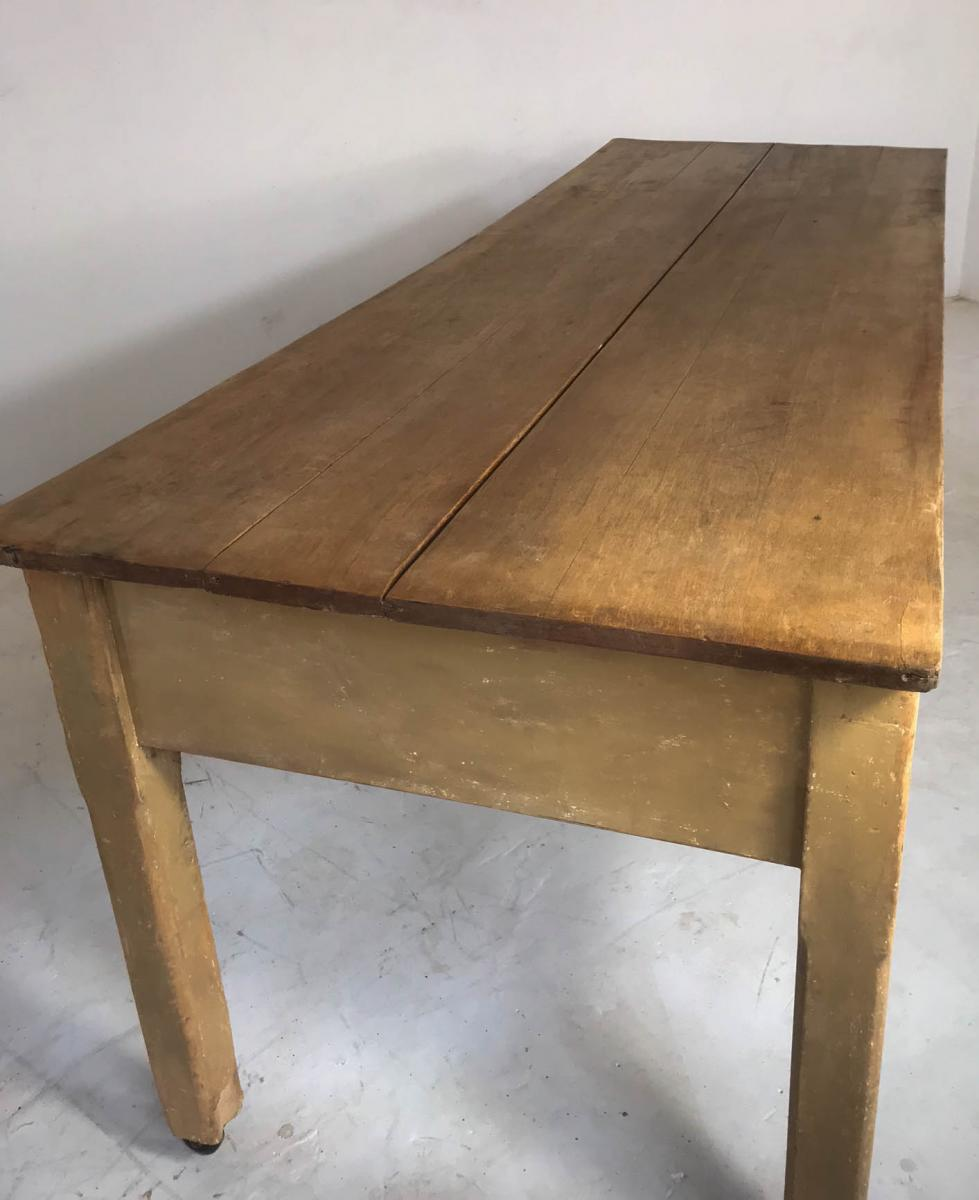 20th Century Pine Baker's Table/ Kitchen Table/ Farmhouse Dining Table