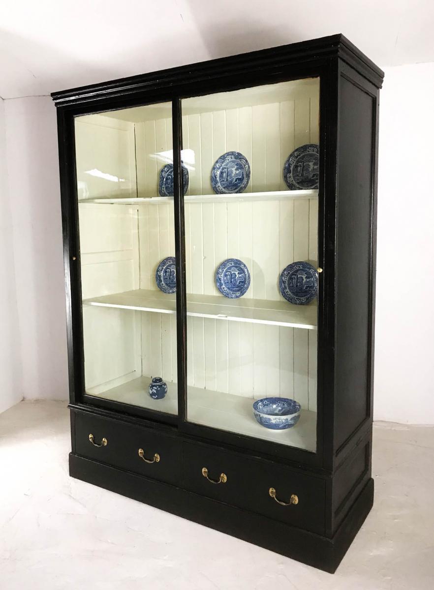 19th Century Victorian Pine Black Display Cabinet Cupboard Bookcase