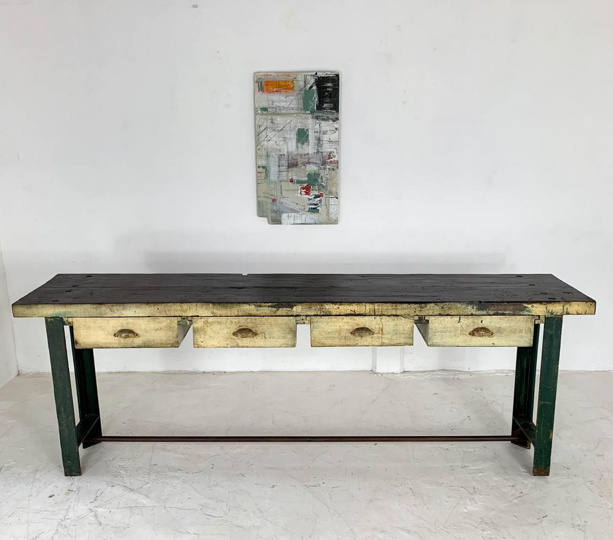 Vintage Industrial Engineer's Workbench Side Table on Cast Iron Ends
