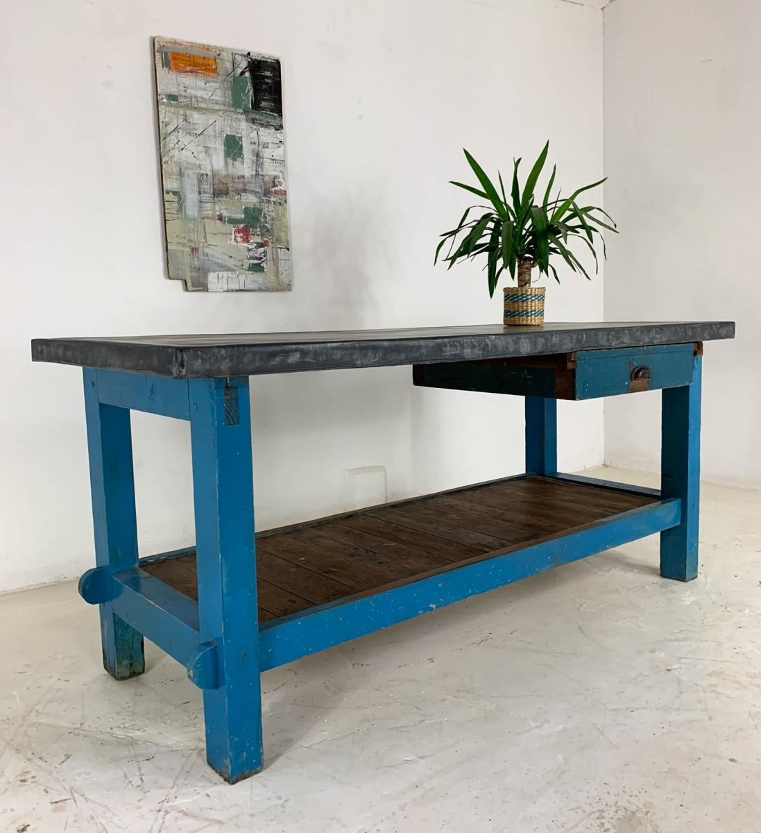 Vintage Industrial Painted Pine 'Potting Board' Table Workbench with Zinc Top