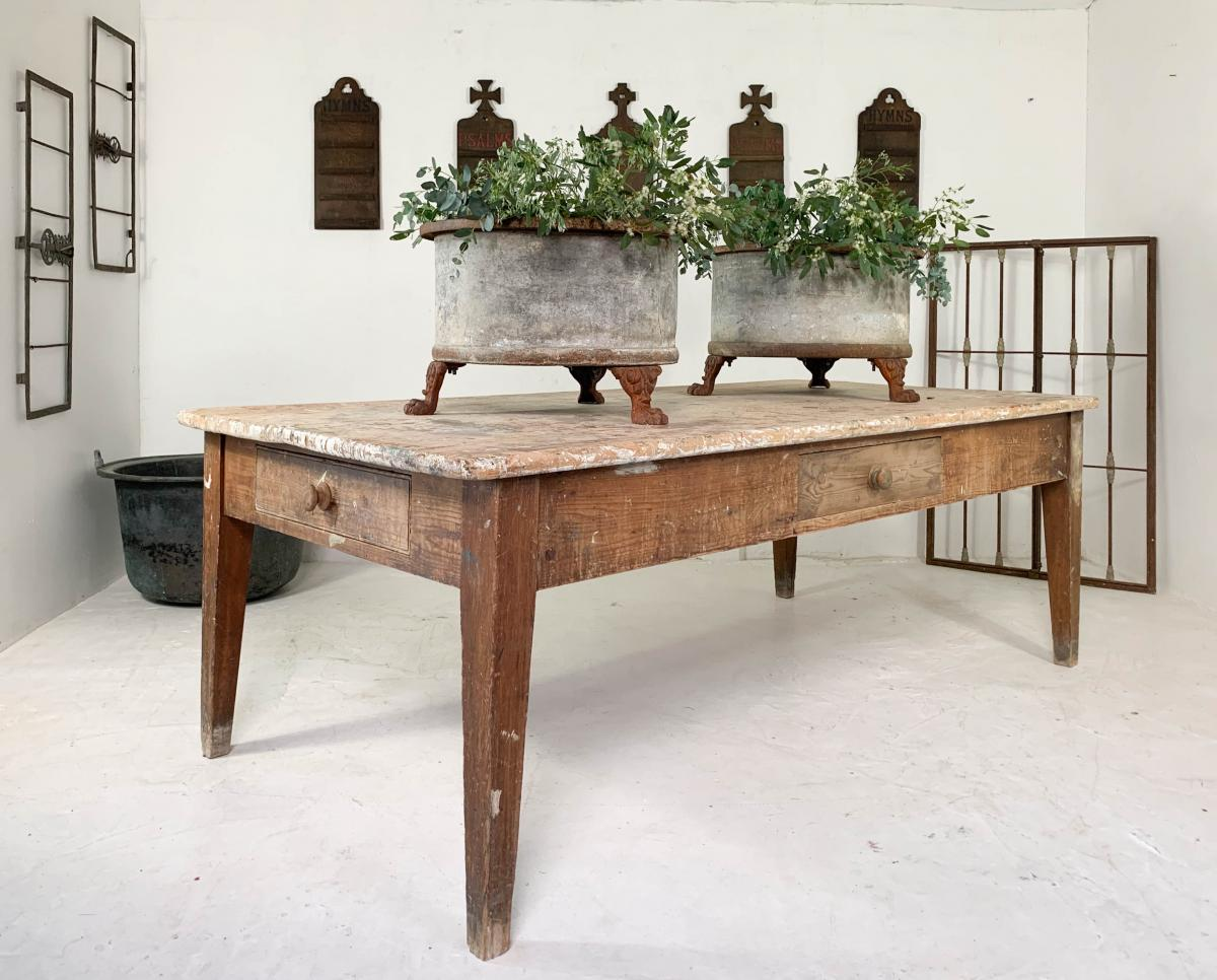 Georgian Prep Table Antique Kitchen Freestanding Country Rustic